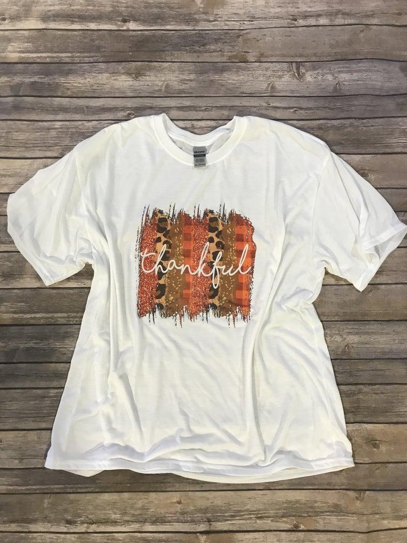 Thankful Orange and Leopard Brush Stroke Graphic Tee - Sizes 12-20