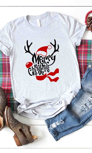 Merry Christmas Reindeer with Santa Hat Gray Tee - Sizes 4-12