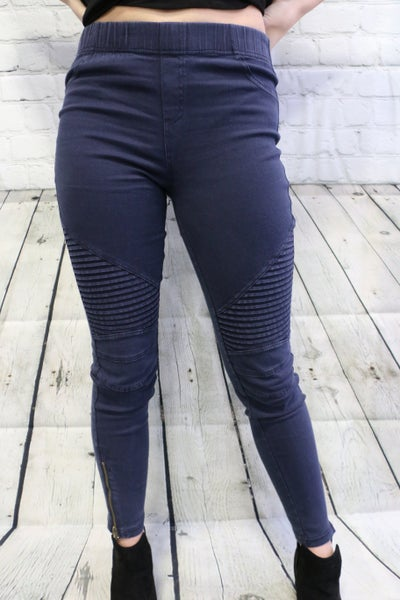 The Rebecca Moto Pants In  Midnight Blue - Sizes 4-10