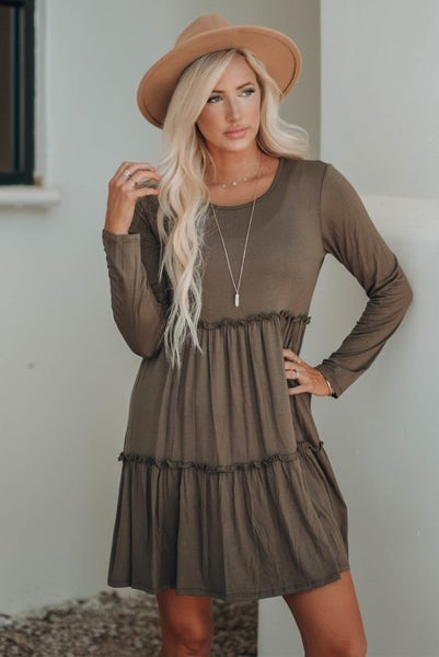 Meet Me There Tiered Long Sleeve Dress in Multiple Colors - Sizes 4-12