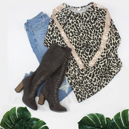 Lucky For You Leopard Top with Sequin Accents - Sizes 4-20