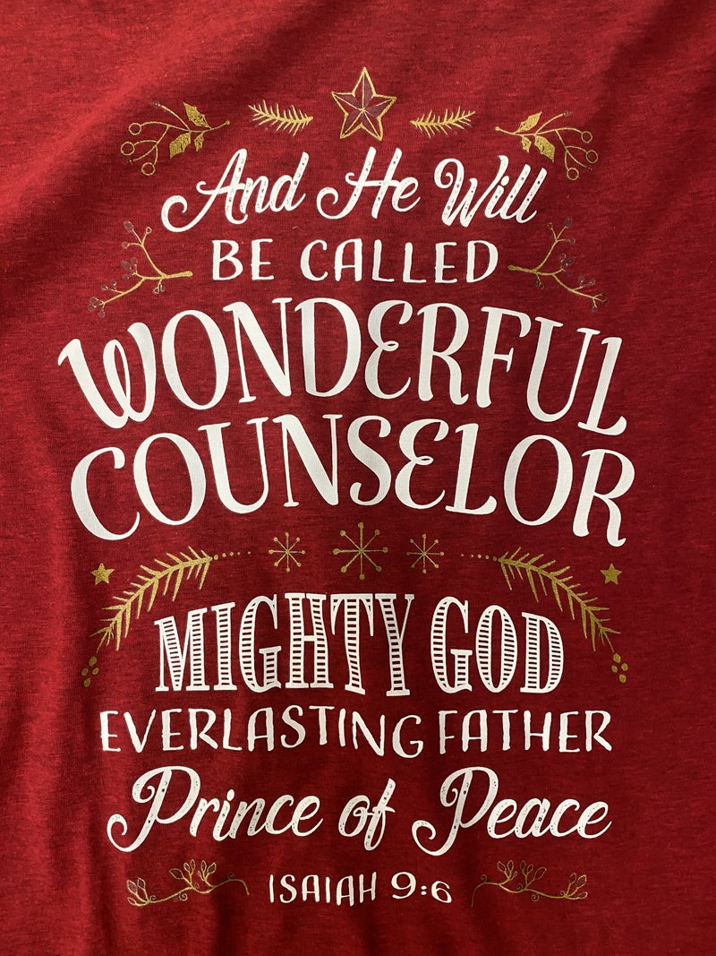 Names of Jesus December Tee of the Month in Wine - Sizes 4-20