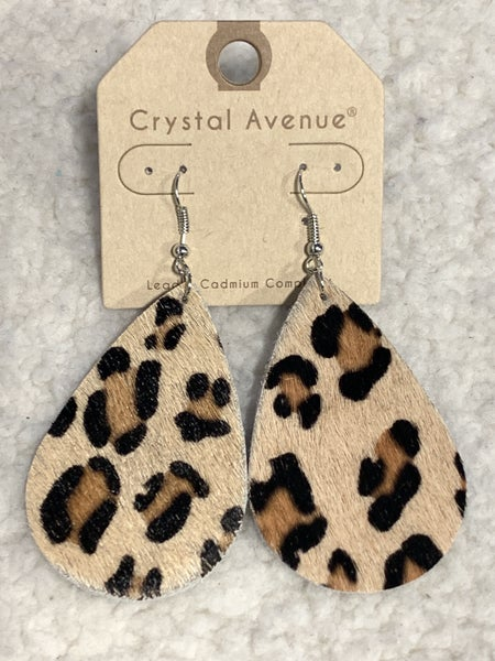 She's The One Leopard Pony Hair Teardrop Earring