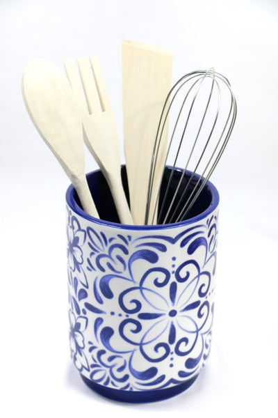 Blue And White Talavera Pattern Ceramic Kitchen Tool Holder With Tools