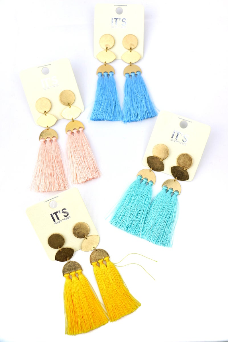 Hello Again Long Gold And Fringe Tassel Earring In Multiple Colors