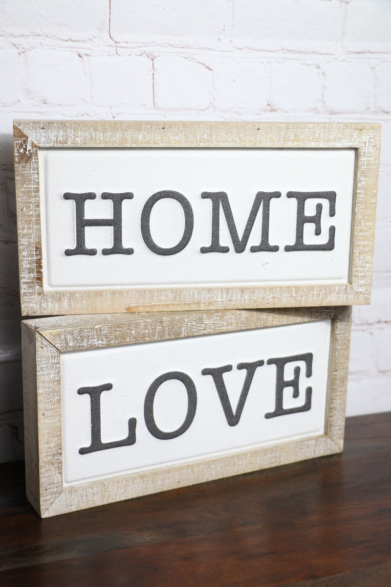 Sweet Sentiments Wood Block Sign With Canvas Center In Multiple Sayings