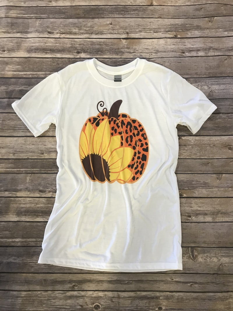 Leopard and Sunflower Pumpkin Graphic Tee - Sizes 4-10