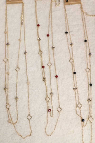 She's The One Long Gold Double Strand Necklace With Quatrefoil Design and Beads In Multiple Colors