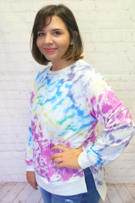 Waiting for you White Tie Dye Long Sleeve Top - Sizes 4-18