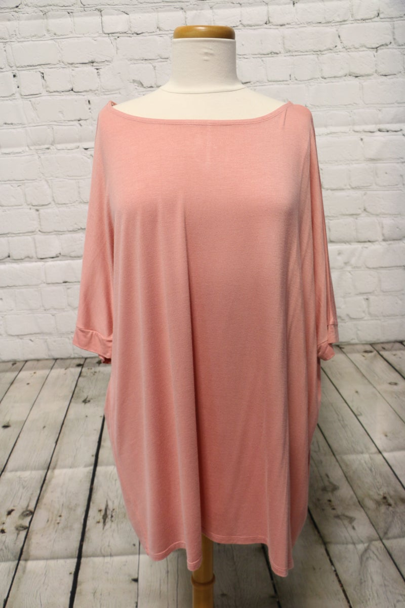 Beautiful Day Short Sleeve Dolman In Mauve- SIZE M