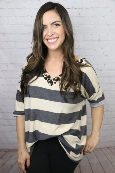Do I Want to Know Striped Top with Leopard Contrast in Multiple Colors - Sizes 4-20