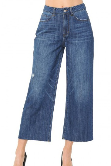 The Carey Medium Wash Loose Fit Jean with Raw Hem-Sizes-3-13