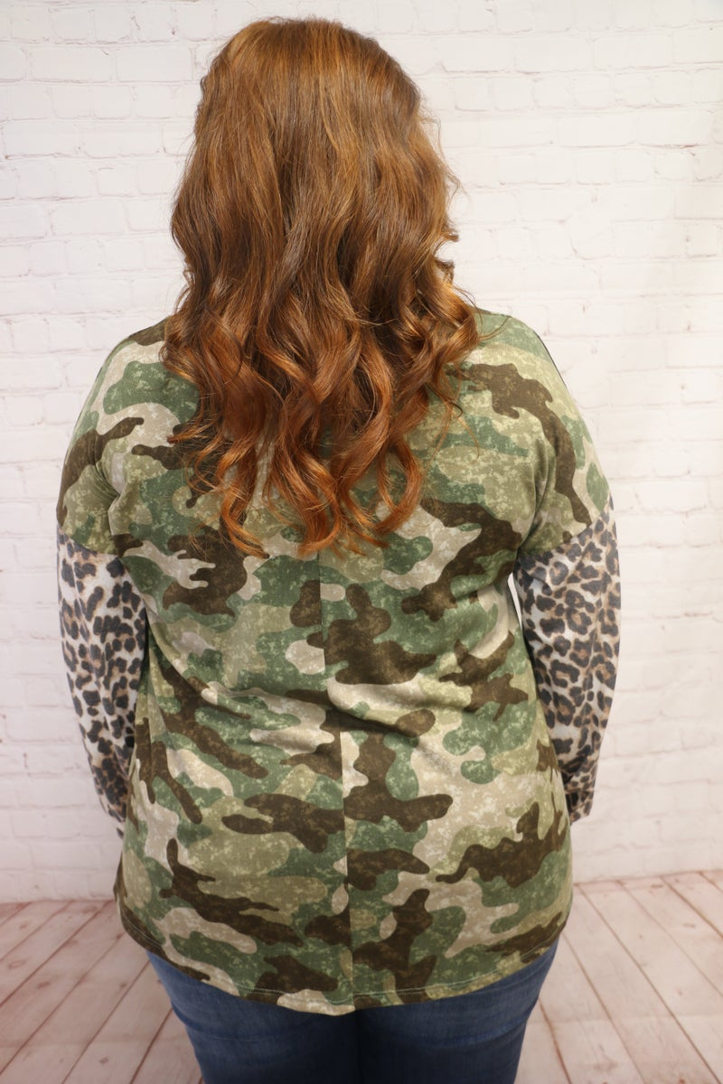 I Was There Camo Top with Leopard Accent Sleeve - Sizes 4-20