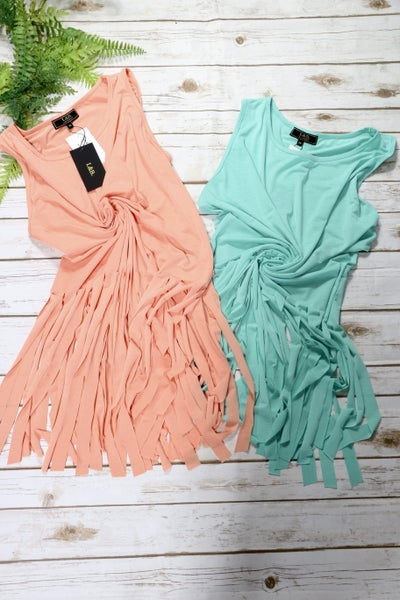 L&B Long Tank Top With Fringe Hem - Sizes S and 2X