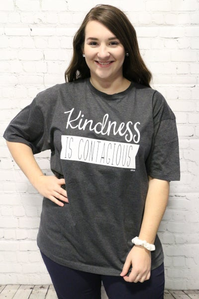 Kindness Is Contagious Graphic Tee In Gray Sizes 4-20 ***PRE-ORDER***