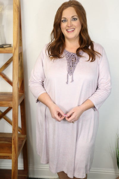 In the Light of Day Lavender Long Sleeve Dress with Lace Up V-Neck - Sizes 12-20