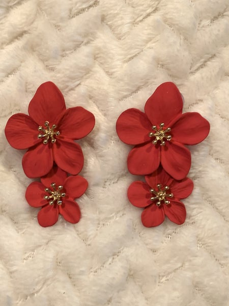 Ready For More Red Double Flower Earring