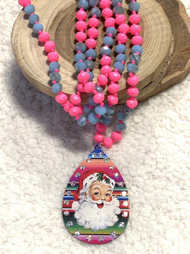 Southwest Christmas Serape Teardrop Necklace With Santa And Bling