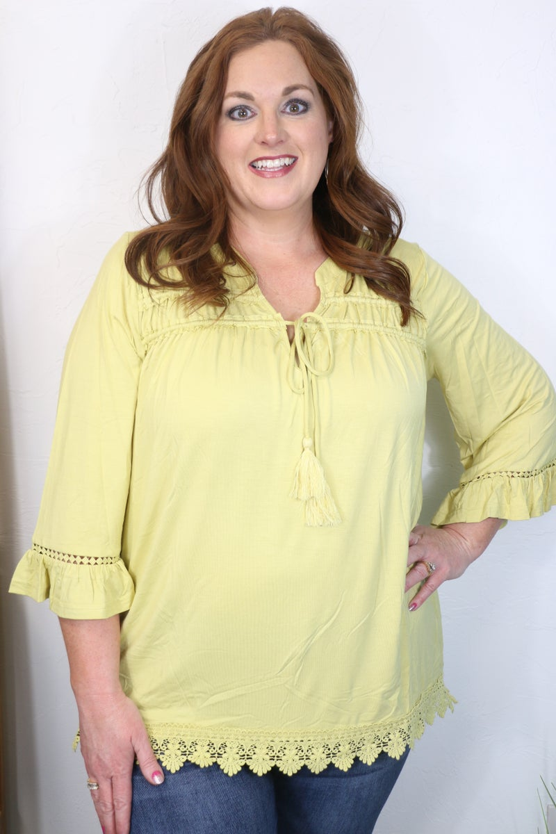 Couldn't be Simpler Squash Bell Sleeve Top with Lace Accents - Sizes 12-20