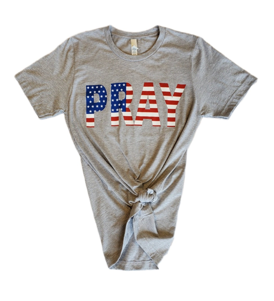 ***PRE-ORDER*** Pray American Flag Themed Graphic Tee - Sizes 4-20