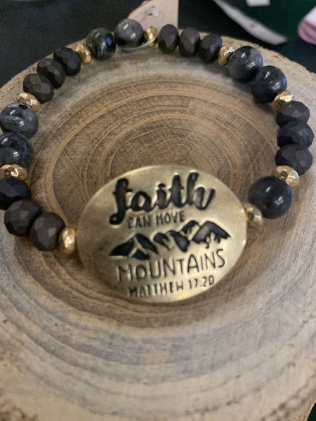 Faith Can Move Mountains Beaded Stretch Bracelet - Assorted Colors