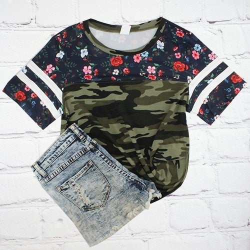 Small Town Country Girl Floral and Camo Baseball Tee - Sizes 4-20