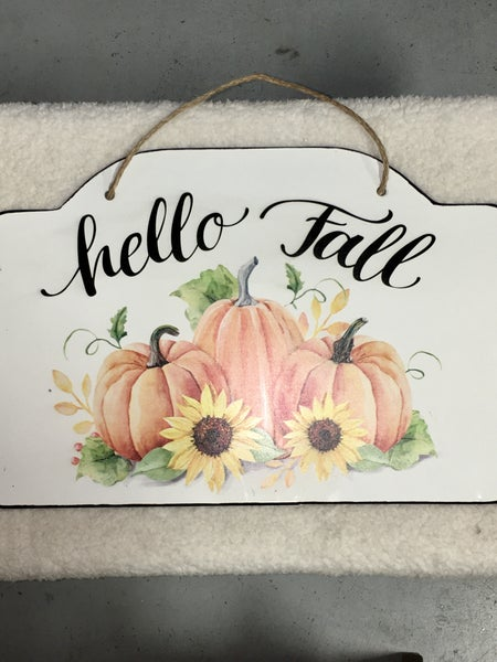 Hello Fall Pumpkin & Sunflower Tin Metal Hanging Sign