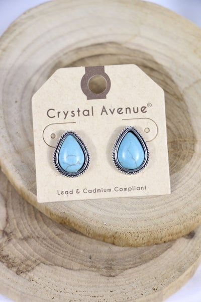 On The Right Track Turquoise And Silver Teardrop Stud Earring