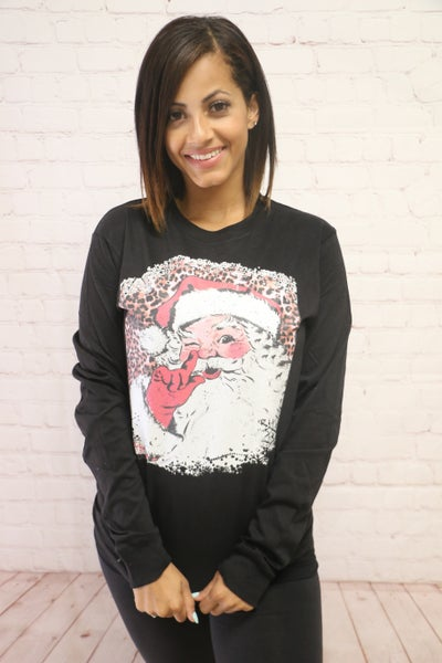 Shhhh It's Santa Graphic Long Sleeve Black Tee - Sizes 4-20