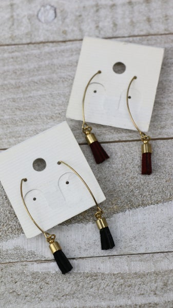 Everyday Gold Threader Earring With Small Leather Tassels In Multiple Colors