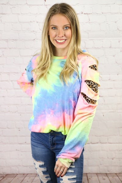 Save The Day Tie Dye Top with Leopard Cut Outs - Sizes 4-20