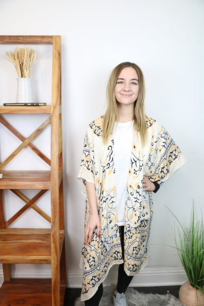 In His Favour Cream Kimono With Navy And Mustard Medallion And Border Print - One Size