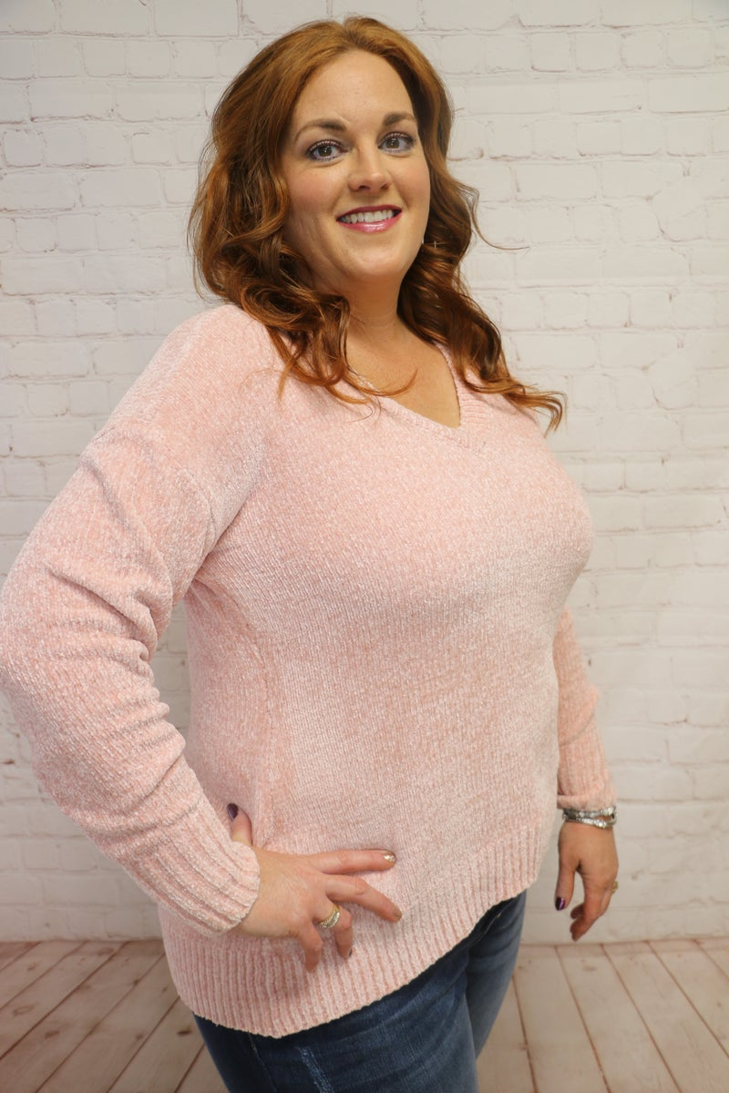Keeping It Going V-Neck Chenille Sweater in Multiple Colors - Sizes 12-24