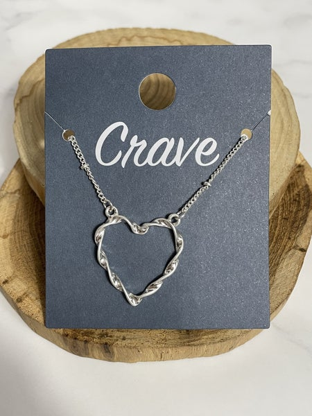 Love This Short Twisted Silver Heart Necklace