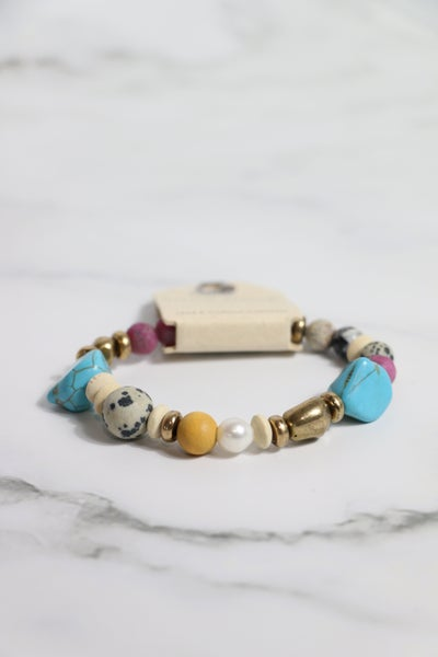 Day To Night Natural Stone And Turquoise Beaded Stretch Bracelet