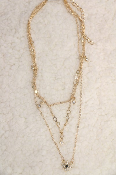 Starry Night 3 Layer Gold Necklace With Star Charm
