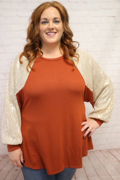 Better Get Going Rust Colored Top with Sequin Bubble Sleeve - Sizes 4-20