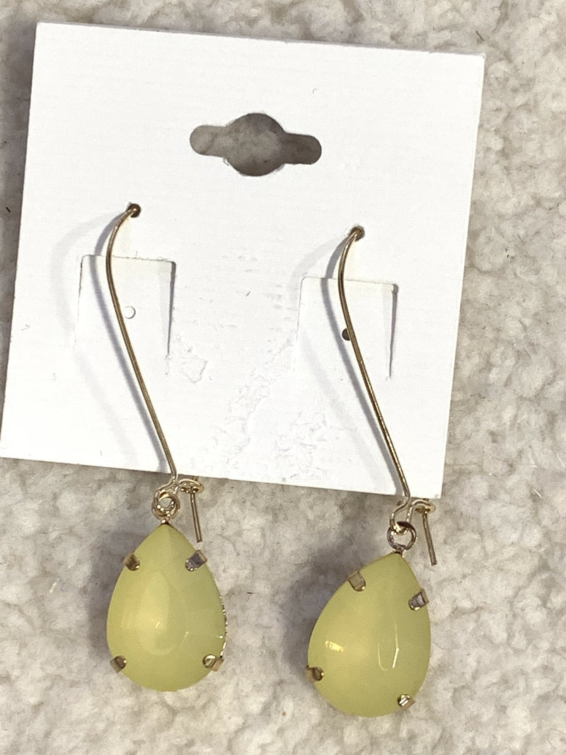 On The Town Yellow Crystal Teardrop Earring In Gold