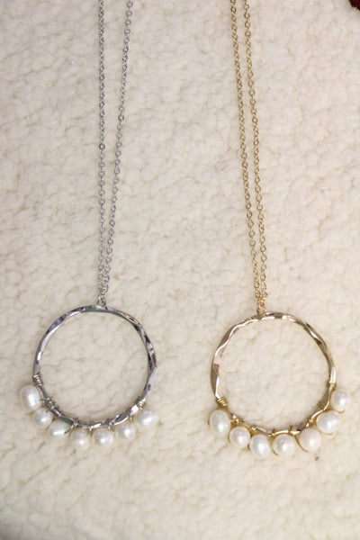 A Night Out Long Gold Necklace With Pearl Beaded Gold Hoop In Multiple Colors