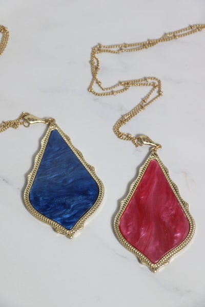 Perfect Day Long Gold Necklace With Pointed Teardrop Pendant In Multiple Colors