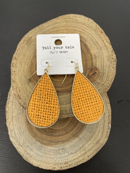 In It To Win Orange Woven Teardrop Earring