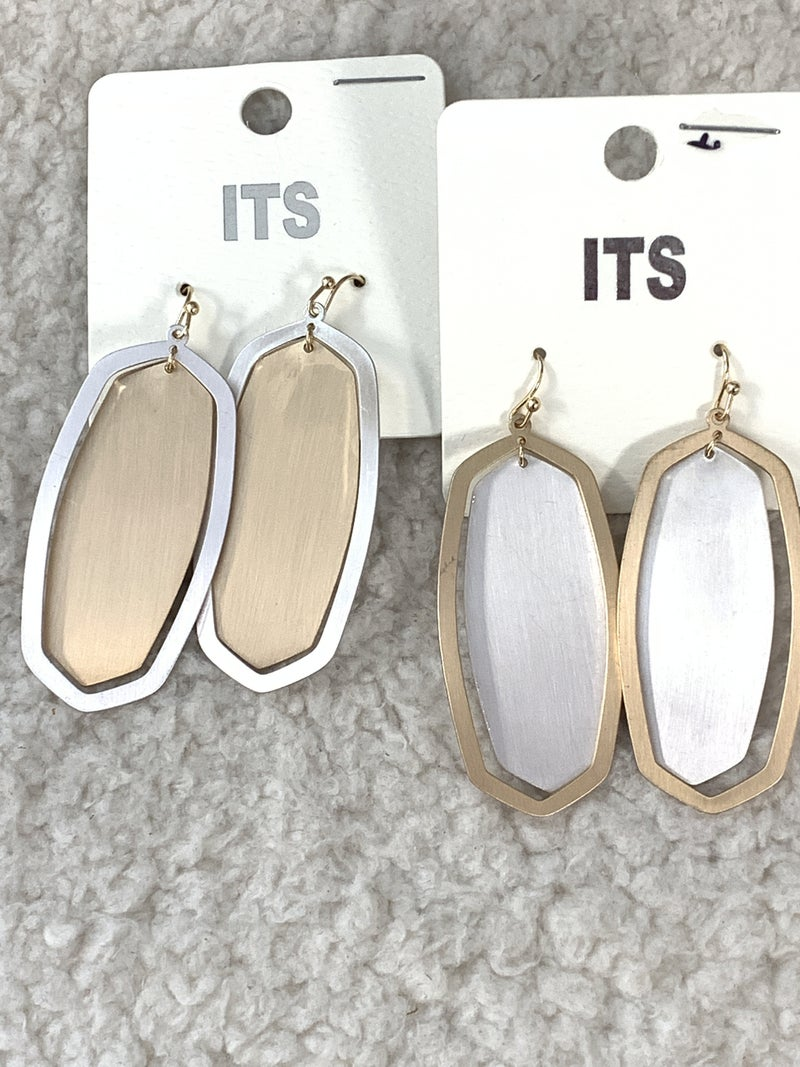 Double Trouble Two Tone Metal Oblong Earring In Multiple Colors