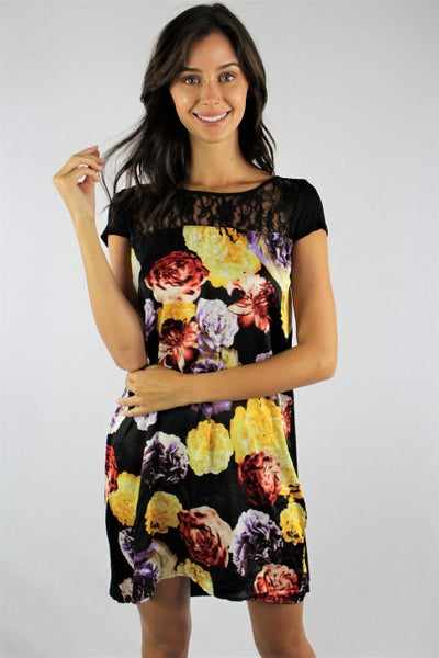 Beautiful Love Black Floral Dress with Lace Accent - Sizes 4-10