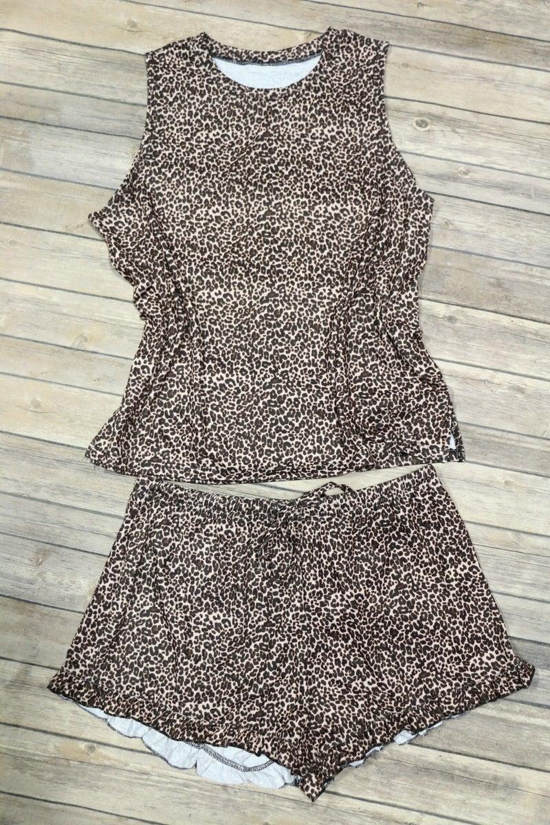 Uninhabited Leopard Lounge Wear Set With Ruffle Shorts - Sizes - 4-20