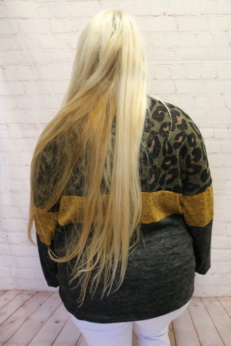 Time Flies By Olive Leopard Puff Sleeve Top with Multiple Contrast Band Options - Sizes 12-20