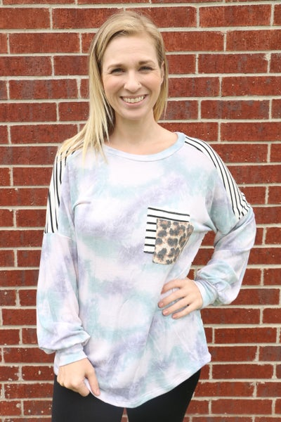 Super Cute Tie Dye Top with Leopard and Stripe Accents - Sizes 4-12