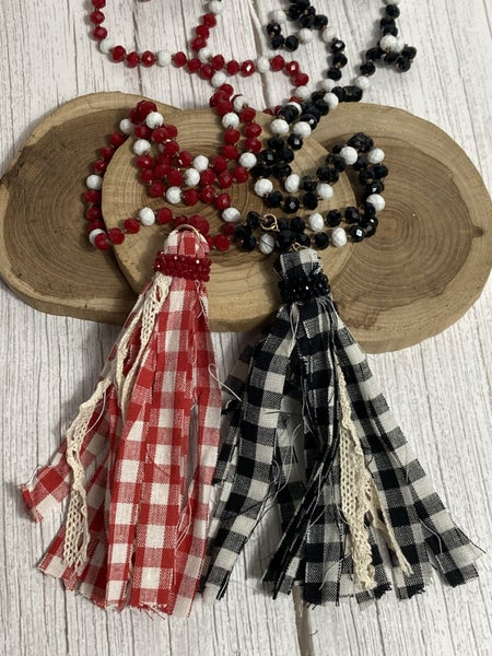Small Town Girl Buffalo Check Tassel Beaded Necklace in Multiple Colors