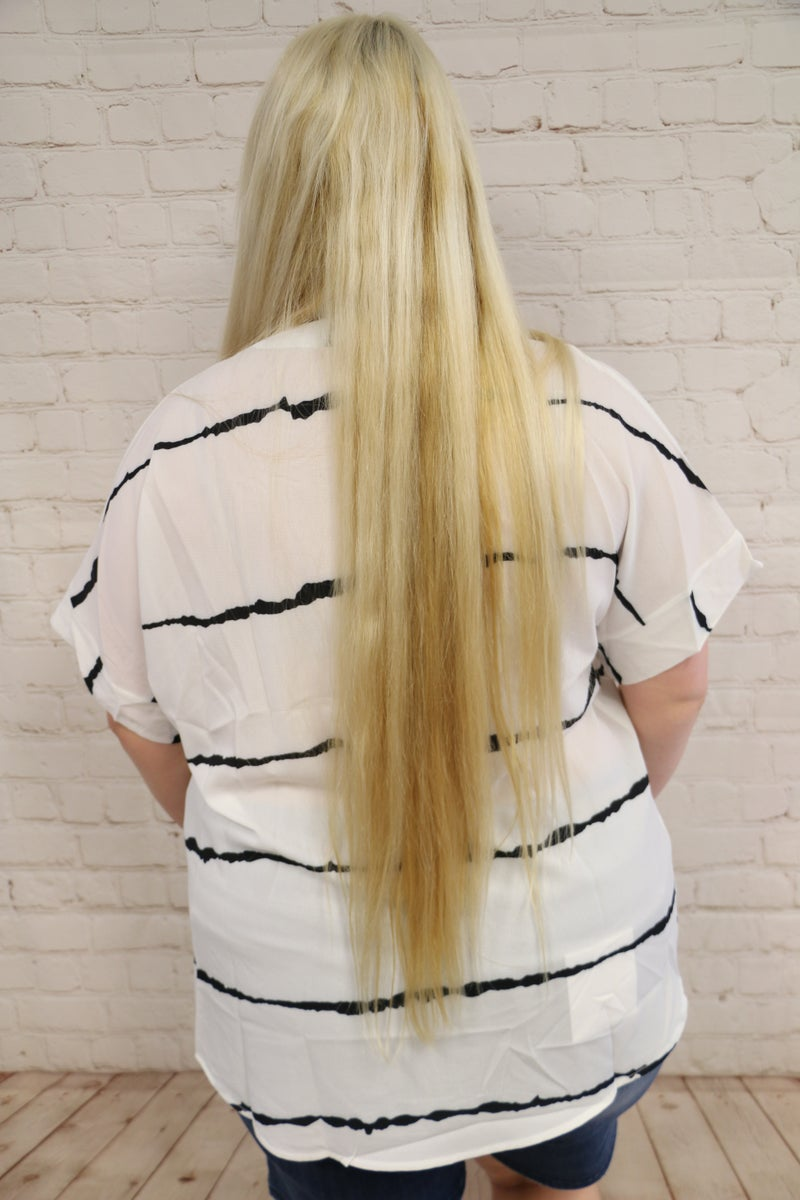 Sawyer White With Black Squiggle Stripe Top With Buttons 4-20