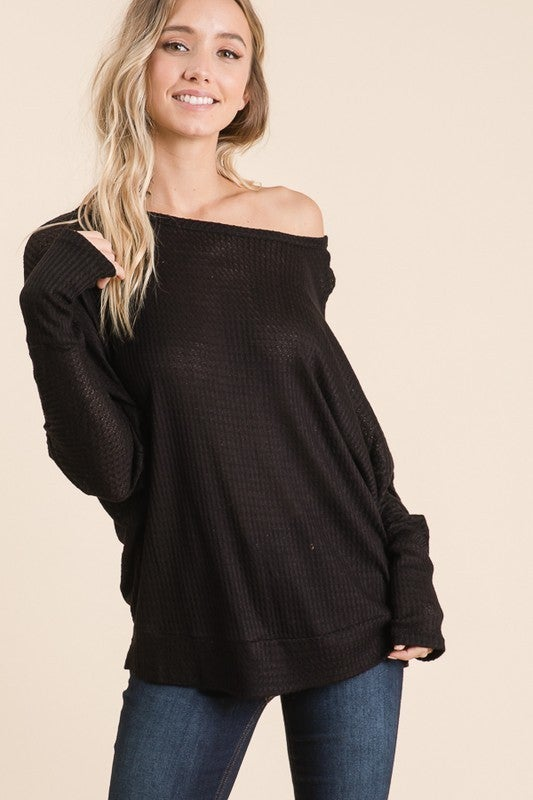 Only Imagine Waffle Knit Off the Shoulder Dolman in Multiple Colors - Sizes 4-12