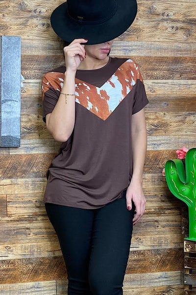 Keep It Cute Brown Top with Cow Print Accent - Sizes 4-20